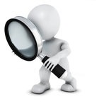 1257013-Clipart-Of-A-3d-White-Man-Searching-With-A-Magnifying-Glass-Royalty-Free-Illustration