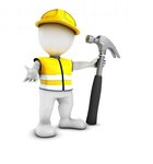 1257020-Clipart-Of-A-3d-White-Man-Construction-Worker-With-A-Giant-Hammer-Royalty-Free-Illustration